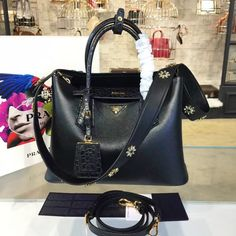 64ab4ef02062 Prada Saffiano Double Handle Tote Bag with Croc Stamp 33cm Fall Winter 2016  Bag Collection