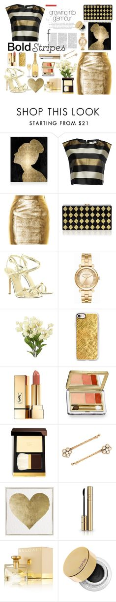 """""""Bold Stripes 2"""" by formikastumblr ❤ liked on Polyvore featuring Oliver Gal Artist Co., True Decadence, Yves Saint Laurent, Milly, Michael Kors, Casetify, Estée Lauder, Tom Ford, Marc Jacobs and Dolce&Gabbana"""