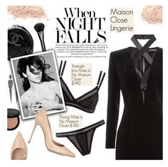 """""""When Night Falls"""" by pokadoll ❤ liked on Polyvore featuring Balmain, Maison Close, Chanel, Bobbi Brown Cosmetics, Stephen Webster, Gucci, Gianvito Rossi and maisonclose"""
