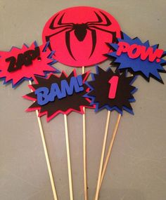 Spiderman Centerpiece Superhero party by InspiredbyLilyMarie Spiderman Theme Party, Superman Birthday Party, 5th Birthday Party Ideas, Superhero Party, Birthday Party Decorations, 3rd Birthday, Party Time, Creations, Victorian