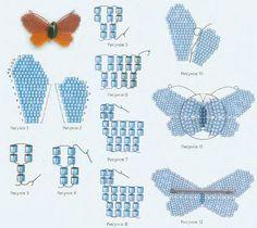 схема плетения бабочки из бисера- butterfly brooch
