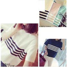 Short Sleeves Striped T-shirt from #YesStyle <3 Kikiyo YesStyle.com