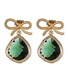 Emerald Glass-Drop Earrings
