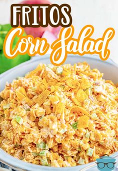This Frito Corn Salad is a super fun appetizer that combines corn kernels, cheese, taco seasoning, Fritos, green peppers and red onion. Always a hit! Corn Salad Recipes, Corn Salads, Easy Appetizer Recipes, Best Appetizers, Corn Salad Recipe Easy, Bbq Salads, Party Recipes, Yummy Recipes, Free Recipes