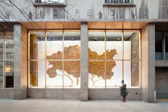 Low relief cardboard drawing, 'Treescreen, cardboard trees', Donnel Library w/ chashama, NYC, 20 x 60 feet