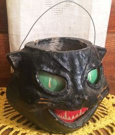 All-Original+Vintage+Halloween+Paper+Mache+Pulp+Cat+Jack+o'+Lantern+ca.+1940s!!!+