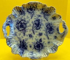 Warwick China Handled Scalloped Cake Plate w/ Gold Luster, Flow Blue.  c1893.