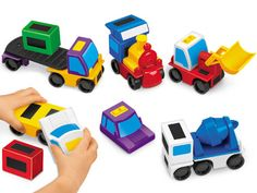Mix and match magnetic vehicles. Ages 3-8