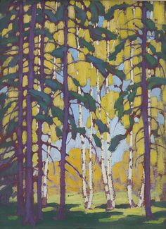 "Lawren Harris - Canada / Group of Seven - ""Snow on Trees"", oil on canvas, x 59 'Algonquin Birches' Group Of Seven Artists, Group Of Seven Paintings, Canadian Painters, Canadian Artists, Abstract Landscape, Landscape Paintings, Tom Thomson Paintings, Amazing Art, Art Gallery"