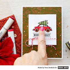 Flashing Car Headlights Light Up Christmas Card with Chibi Lights by Yana Smakula for Hero Arts
