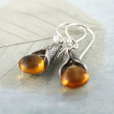 Citrine Silver Earrings - Yellow Gemstones Drops Wrapped in Elvish Silver £25.00
