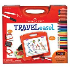 Do Art Travel Easel - Filled with premium quality Faber-Castell materials, this portable art studio is the perfect gift for young artists. 30+ piece set includes Faber-Castell beeswax crayons, markers, chalk, white wipe board marker, colored pencils, sharpener, sponge and sketch pad. Multi-functional surfaces include a chalkboard, a white wipe board and a drawing easel. Designed with storage in mind, all the materials fit neatly in int when not in use.
