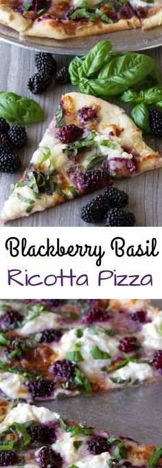 Dress up your pizza with something a little different in this Blackberry Basil Ricotta Pizza. It's elegant. It's simple. And it's totally delicious! Pizza Blackberry, Basil, and Ricotta Pizza Ricotta Pizza, Vegan Ricotta, Prosciutto Pizza, Clean Eating, Healthy Eating, Cooking Recipes, Healthy Recipes, Healthy Dinners, Snacks