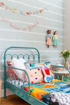 Break free from the usual 'blues for boys' and 'pink for girls' and transform your kid's room in stunning ways. Scroll through the amazing gender neutral room ideas for kids now. Romantic Bedroom Decor, Kids Room Design, Little Girl Rooms, Kid Spaces, New Room, Girls Bedroom, Home Decor, Colorful Girls Room, Room Ideas