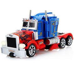 Fengyuan Radio Control Robot Transformers Optimus Prime Truck RC Toy 220-240V - BLUE AND RED EU PLUG