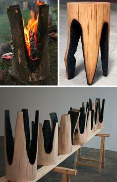 Redefining Rustic Materials: 6 Modern Log Furniture - what a cute idea. Deco Design, Wood Design, Rustic Furniture, Furniture Design, Furniture Makers, Furniture Stores, Furniture Decor, Cabin Furniture, Western Furniture