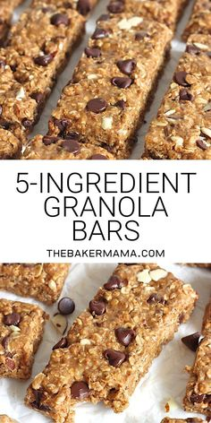 Just 5 ingredients and about 5 minutes is all it takes to make these chewy crunchy oh so tasty granola bars and you can make them with peanut butter or almond butter No baking required homemadegranolabars easysnackrecipes Low Sugar Granola, Vegan Granola Bars, Oatmeal Bars Healthy, Breakfast Bars Healthy, Peanut Butter Oatmeal Bars, Chocolate Chip Granola Bars, No Bake Granola Bars, Oatmeal Breakfast Bars, Granola Bar Recipe With Peanut Butter