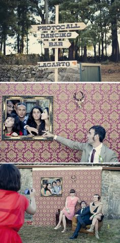 Divertido photocall imitando un salón vintage {Foto, Tamara de la Fuente} #photobooth #bodas #wedding #spain