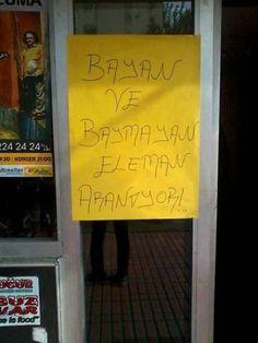 Bayan ve baymayan eleman aranıyor!..  #mizah #matrak #komik #espri #şaka #gırgır #komiksözler