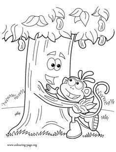 Boots And Chocolate Tree Are Hugging Each Other In The Best Friends Day Another Awesome Printable Dora Coloring Page