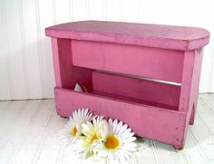 Primitive Pink Wooden Foot Stool - Vintage Handcrafted Artisan Seat - Small Chippy Painted Bench