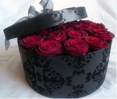 Grand Prix roses in a hat box