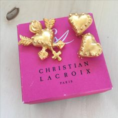 Vintage Christian Lacroix Heart Brooch and Earrings SET リスチャンラクロワ Fine Jewelry, Jewellery, Unique Jewelry, Byzantine Jewelry, Christian Lacroix, Opal Earrings, Statement Jewelry, Earring Set, Etsy Seller