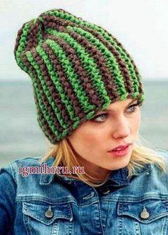Полосатая шапочка, связанная поперек. Вязание спицами