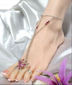 Sexy Pink Crystal Butterfly Charm Rhinestone Anklet Toe Ring http://gingasgalleria.com/product/sexy-pink-crystal-butterfly-charm-rhinestone-anklet-toe-ring/