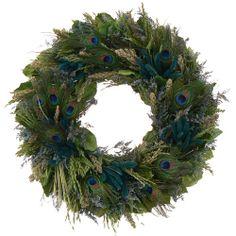 Urban Florals Pretty Peacock Wreath - 22 Beautiful Christmas Wreaths Designs