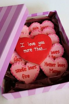 "seriously the cutest! valentine cookies...""I love you more than..."" to let him know how much ya love him. :)"