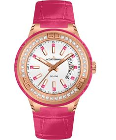 Jacques LEMANS Miami Crystal Ladies Pink Leather Strap Η τιμή μας: 179€ http://www.oroloi.gr/product_info.php?products_id=34753