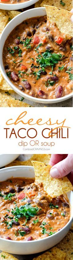 Homemade Cheesy Chili Dip OR Soup!