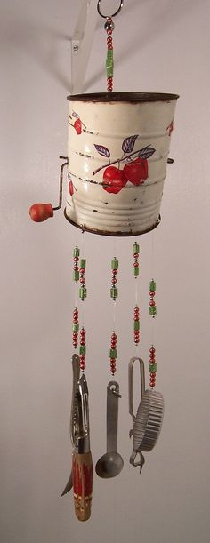 Wind Chime-Repurposed Sifter Kitchen Wind Chime-In the Orchard-Handmade One of a Kind Wind Chimes by passingtimeandchimes On Etsy Wind Charm, Craft Projects, Projects To Try, Craft Ideas, Diy And Crafts, Arts And Crafts, Indoor Crafts, Diy Cadeau, Diy Wind Chimes