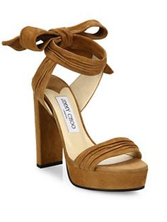 Jimmy Choo - Kaytrin 120 Suede Ankle-Tie Platform Sandals