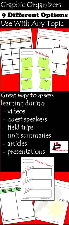 Are your students: watching a movie? listening to a guest speaker? going on a field trip? reading an article? Use one of these note sheets to help your students remember what they learn, or to see if your students understood what you wanted them to, or to take an easy grade on those experiential learning activities. This file includes 9 different graphic organizers to use for note-taking and assessing knowledge of experiential learning, all for just $6.00. Use them again and again.