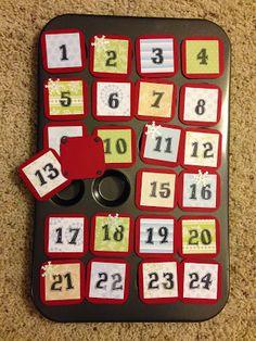 mini muffin tin advent calendar - good one for the classroom (class activity inside each day?)