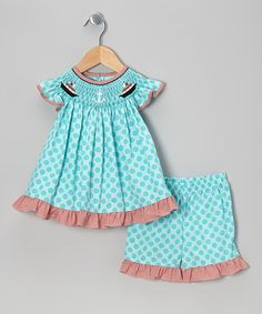 Take a look at this Aqua Cruise Ship Tunic & Shorts - Infant, Toddler & Girls by Jadi Lane on #zulily today!