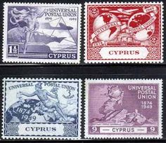 Cyprus Stamps 1949 Universal Postal Union Set Fine Mint SG 168-171 Scott 160 - 163 Other European and British Commonwealth Stamps HERE!