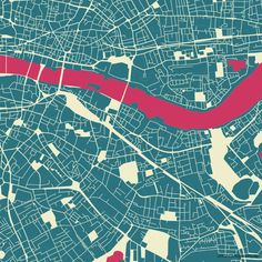 A printed piece of map art that shows the urban landscape of London.