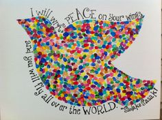 Peace Dove made with the thumbprints of 47 preschoolers.
