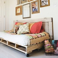 Repurposed wood pallets! How much fun would the kids have rolling their bed around?! Hmmm...maybe not such a good idea for my boys! - sublime-decor.com