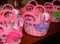 Spa party gift baskets Brush, make up and polish for each girl :) One of our little members celebrating her special day at the club. Girls Pamper Party, Spa Day Party, Kids Spa Party, Sleepover Birthday Parties, Girl Sleepover, Birthday Ideas, 9th Birthday, Make Up Party, Teenage Girls Birthday Party Ideas