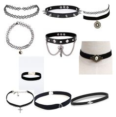 """Choker Compilation #1"" by cutepixel on Polyvore featuring Charlotte Russe, Trend Cool, Accessorize, BlackMoon, Vanessa Mooney, Wendy Nichol, women's clothing, women's fashion, women and female"