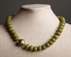 Olive Green Stone Necklace - Vintage Tuareg Brass Bead and Serpentine - Faye. $64.00, via Etsy.