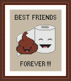 Poop Emoji Funny Cross Stitch PDF Pattern - Poo and Toilet Paper Best Friends Forever