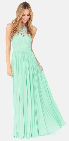 Mint Green Maxi #formal - would have to be a shorter version, but I love the lace top!