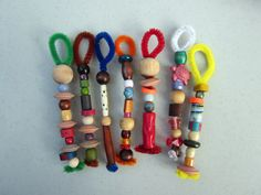 Fun w/ bubbles: bubble wands out of pipecleaners & beads