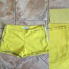 Marc by Marc Jacobs Mustard Green Jean Shorts Zip up the sides mustard green MJM shorts. Easy on & off  Marc by Marc Jacobs Shorts Jean Shorts