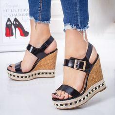 Sandale Cealima negre cu platforma -rl-M